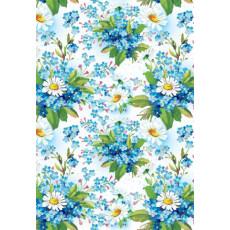 Бумага (меловка) упаковочная (ромашки голубой фон) Ed-N-138m