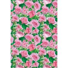 Бумага (меловка) упаковочная (розовые розы) Ed-N-139m