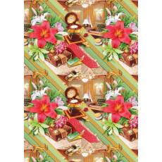 Бумага (меловка) упаковочная мужская (цветы) Ed-N-140m