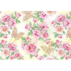 Бумага (меловка) упаковочная (цветы розовые, бабочки ) Ed-N-022m