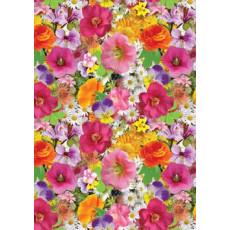 Бумага (меловка) упаковочная (цветы разн) Ed-N-054m