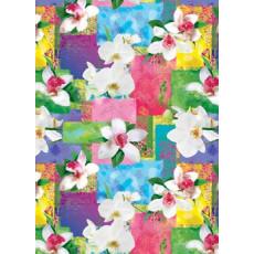 Бумага (меловка) упаковочная (орхидеи квадраты) Ed-N-065m