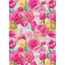 Бумага (меловка) упаковочная (тюльпаны) Ed-N-066m