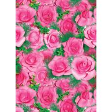 Бумага (меловка) упаковочная (Розовые розы зелень) Ed-N-067m