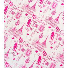 Бумага (меловка) упаковочная (белая LOVE Париж) Ed-N-241m