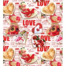 Бумага (меловка) упаковочная (сердечки/LOVE) Ed-N-111m