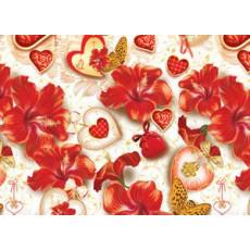 Бумага (меловка) упаковочная (цветы/сердечки) Ed-N-112m