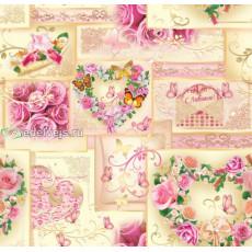 Бумага (меловка) упаковочная (розы сердце) Ed-N-032m