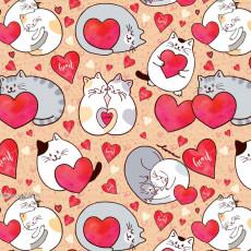 Бумага (меловка) упаковочная (коты, сердечки) Ed-N-388m