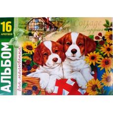 """Альбом для рисования на 16 л. на скобе """"Cottege Puppies"""" BO-16-04"""