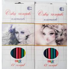 """Карандаши цветные 12 шт. для девочек """"Magic color"""" CR-555-12d"""
