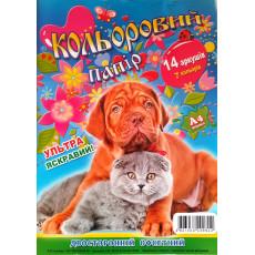 """Набор цветной бумаги двухсторонней. 14 л. """"Бойчев"""" Bo-001"""