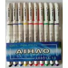 Набор гелевых разноцветных ручек на 10 цветов AH-801A-10