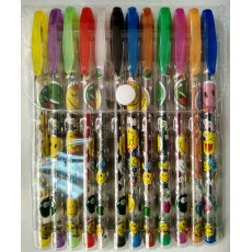 Набор гелевых разноцветных ручек с глитером на 12 цветов Smail-126cv