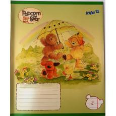 """Тетрадь на 12 л. Линия. """"Popcorn the Bear"""" 1 вересня (KITE) KITE-6619"""