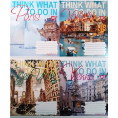"Тетрадь на 24 л. Клетка. ""Think what to do in"" 1 вересня (YES) 1B-764098"