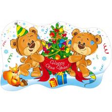 "Плакат вырубка новогодний ""Мишки Happy New Year"" SP-74.006"