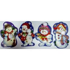 Набор 10 шт. одинарных открыток Снеговики. 31-Et-008
