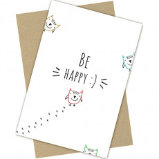 "Открытка одинарная с крафт конвертом ""Be HAPPY!"" FC-C-044"