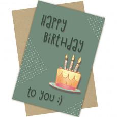 "Открытка одинарная с крафт конвертом ""Happy Birthday!"" FC-C-048"