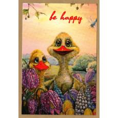"Открытка одинарная с крафт конвертом ""Be happy!"" SR-ODN-011"
