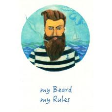 """Открытка двойная с крафт конвертом""""My beard My Rules!"""" SR-C6-07"""