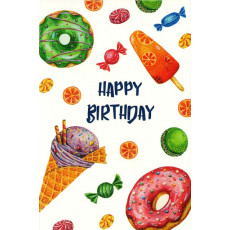 "Открытка двойная с крафт конвертом""Happy Birthday!"" SR-C6-12"