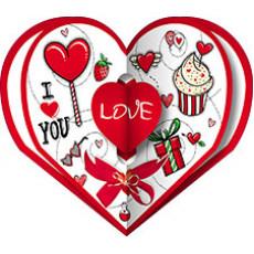 Валентинки «LOVE!» НАБОР 10 шт 14-Sp-23.059y