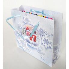 Подарочный пакет новогодний (квадрат малый) ED-P3-049