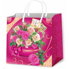 Подарочный пакет женский (квадрат малый) ED-P3-143
