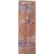 Подарочный пакет крафт Rome (бутылка) ED-P6K-02