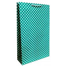 Подарочный пакет (вертикальный) крафт Зеленый ромбики LD-W3K-09
