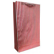 Подарочный пакет (вертикальный) крафт Красный полоска вертикальная LD-W3K-12