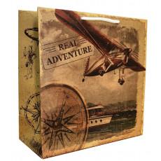 Подарочный пакет крафт (квадрат) Real Adventure LD-W1K-06