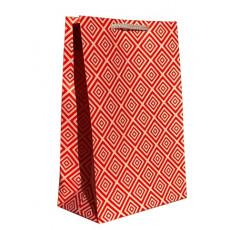 Подарочный пакет крафт (ромбы красный) LD-TMK-11