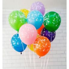"""Воздушные шары 10 шт. Ассорти пастель """"Happy Birthday"""" 12"""" (26см) GE-081-10"""